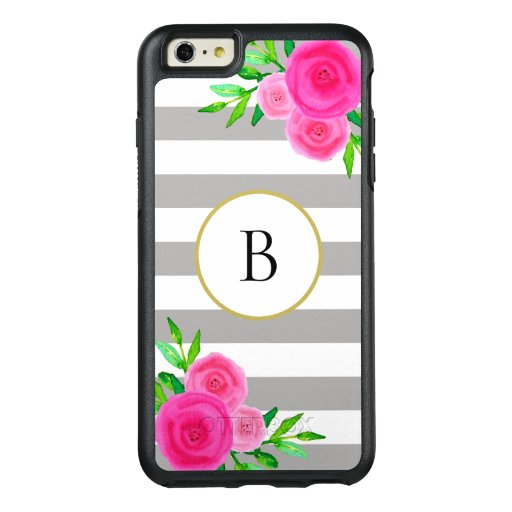 Gray White Stripes Cute Hot Pink Floral Monogram OtterBox iPhone 6/6s Plus Case