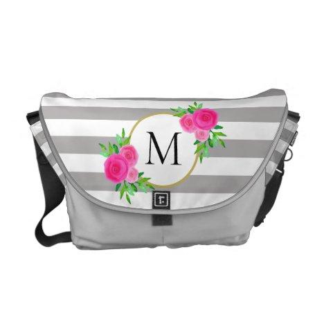 Gray White Stripes Hot Pink Floral Monogram Medium Courier Bag