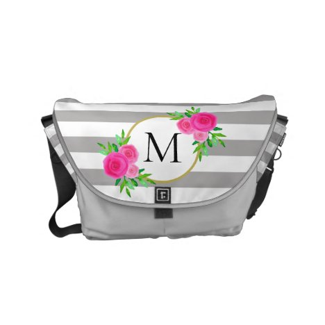 Gray White Stripes Hot Pink Floral Monogram Small Small Messenger Bag