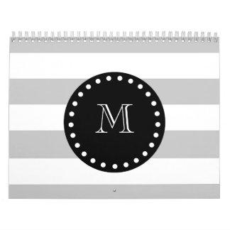 Gray White Stripes Pattern, Black Monogram Calendar