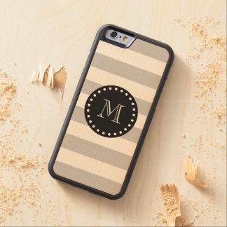 Gray White Stripes Pattern, Black Monogram Carved® Maple iPhone 6 Bumper Case