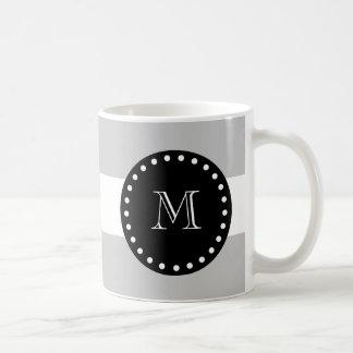 Gray White Stripes Pattern, Black Monogram Coffee Mug