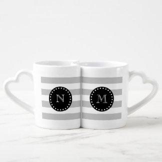 Gray White Stripes Pattern, Black Monogram Coffee Mug Set