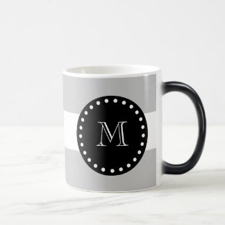 Gray White Stripes Pattern, Black Monogram Magic Mug