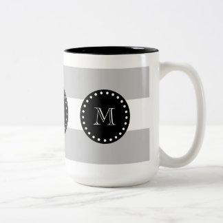Gray White Stripes Pattern, Black Monogram Two-Tone Coffee Mug