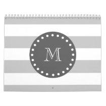 Gray White Stripes Pattern, Charcoal Monogram Calendar