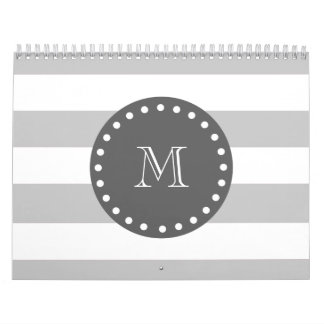 Gray White Stripes Pattern, Charcoal Monogram Calendar