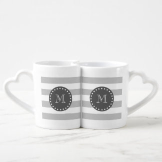 Gray White Stripes Pattern, Charcoal Monogram Coffee Mug Set