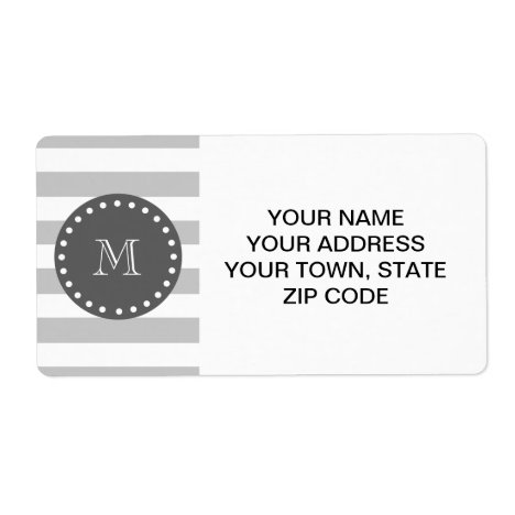 Gray White Stripes Pattern, Charcoal Monogram Label