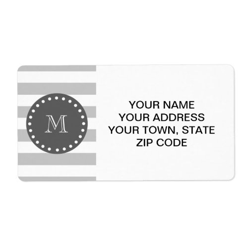 Gray White Stripes Pattern Charcoal Monogram Label