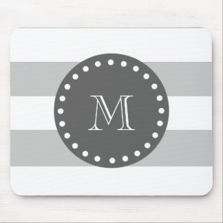 Gray White Stripes Pattern, Charcoal Monogram Mouse Pad