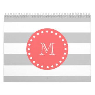 Gray White Stripes Pattern, Coral Monogram Wall Calendar