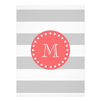 Gray White Stripes Pattern Coral Monogram Personalized Invitation