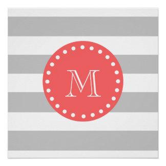 Gray White Stripes Pattern, Coral Monogram Poster