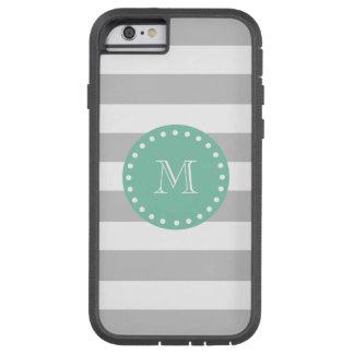 Gray White Stripes Pattern, Mint Green Monogram Tough Xtreme iPhone 6 Case
