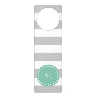 Gray White Stripes Pattern, Mint Green Monogram Door Knob Hangers