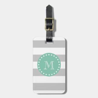 Gray White Stripes Pattern, Mint Green Monogram Luggage Tag