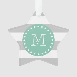 Gray White Stripes Pattern, Mint Green Monogram Ornament