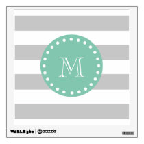 Gray White Stripes Pattern, Mint Green Monogram Wall Decal