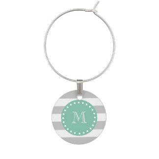 Gray White Stripes Pattern, Mint Green Monogram Wine Glass Charm