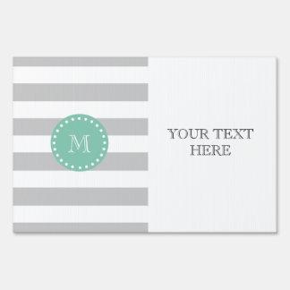 Gray White Stripes Pattern, Mint Green Monogram Signs