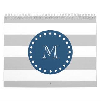 Gray White Stripes Pattern, Navy Blue Monogram Calendar