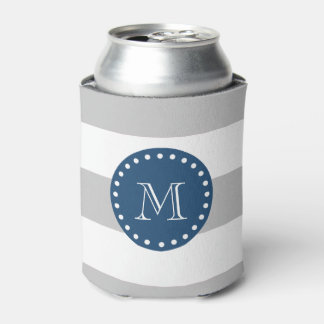 Gray White Stripes Pattern, Navy Blue Monogram Can Cooler