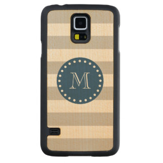 Gray White Stripes Pattern, Navy Blue Monogram Carved Maple Galaxy S5 Slim Case