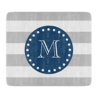 Gray White Stripes Pattern, Navy Blue Monogram Cutting Board