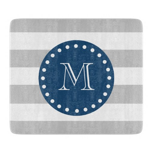 Gray White Stripes Pattern, Navy Blue Monogram Cutting Board