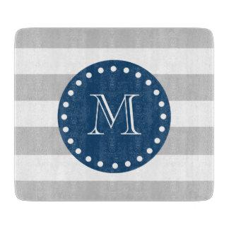 Gray White Stripes Pattern, Navy Blue Monogram Cutting Boards