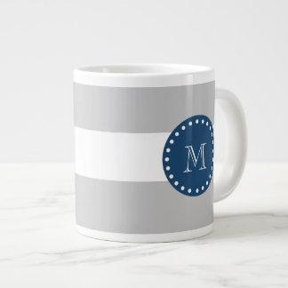 Gray White Stripes Pattern, Navy Blue Monogram Giant Coffee Mug