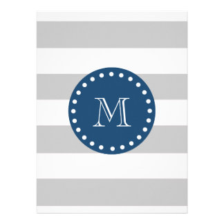 Gray White Stripes Pattern Navy Blue Monogram Personalized Announcement