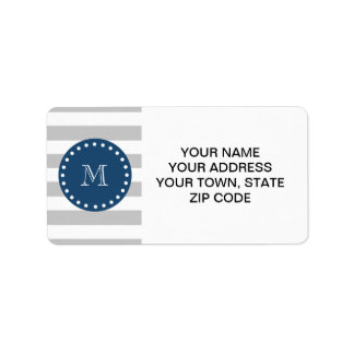 Gray White Stripes Pattern, Navy Blue Monogram Label