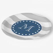 Gray White Stripes Pattern, Navy Blue Monogram Paper Plate
