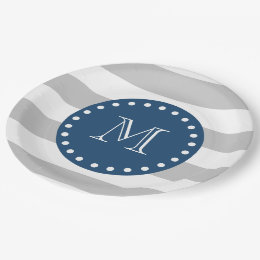 ... Gray White Stripes Pattern Navy Blue Monogram Paper Plate  sc 1 st  Zazzle & Blue And White Stripe Plates | Zazzle