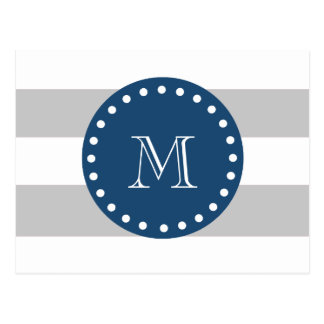 Gray White Stripes Pattern, Navy Blue Monogram Postcard