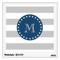 Gray White Stripes Pattern, Navy Blue Monogram Wall Decal