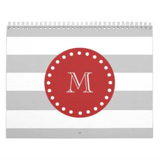 Gray White Stripes Pattern, Red Monogram Calendar
