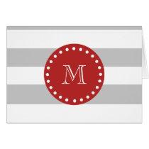 Gray White Stripes Pattern, Red Monogram Card
