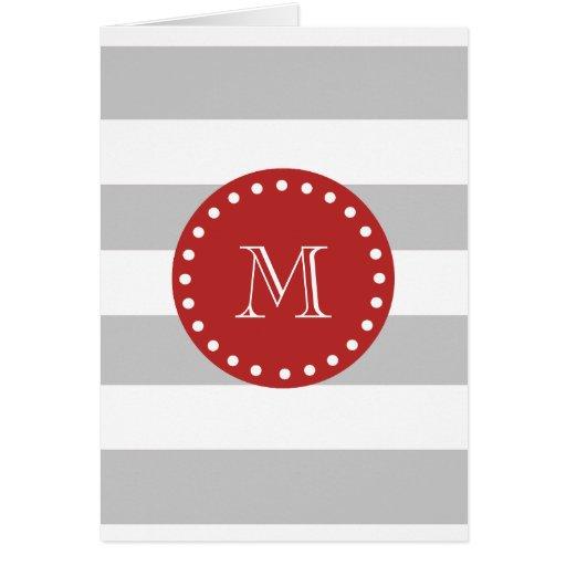 Gray White Stripes Pattern, Red Monogram Greeting Cards