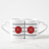 Gray White Stripes Pattern, Red Monogram Coffee Mug Set