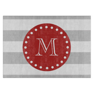 Gray White Stripes Pattern, Red Monogram Cutting Board