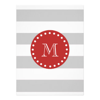 Gray White Stripes Pattern Red Monogram Personalized Announcement