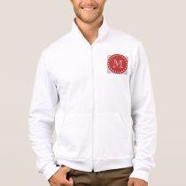 Gray White Stripes Pattern, Red Monogram Jacket