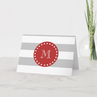 Gray White Stripes Pattern, Red Monogram Note Card