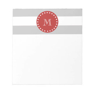 Gray White Stripes Pattern, Red Monogram Notepad