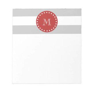 Gray White Stripes Pattern Red Monogram Memo Notepads
