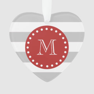 Gray White Stripes Pattern, Red Monogram Ornament