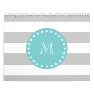 Gray White Stripes Pattern, Teal Monogram Calendar